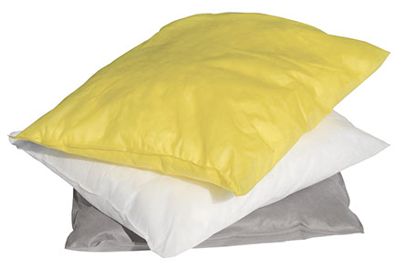 A Haz-Mat yellow sorbent pillow on top a Oil-only white sorbent pillow stacked on a grey gerneral purpose sorbent pillow